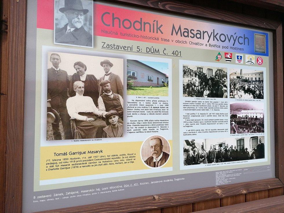 Takzvaný Chodník Masarykových je projektem města Bystřice pod Hostýnem a obce Chvalčov. Měří 9 kilometrů a je na něm 8 zastavení - informačních tabulí. Jedno z nich, věnované Masarykově rodině, je umístěno naproti domu č.p. 1 (nyní č.p. 401), kde Masaryk