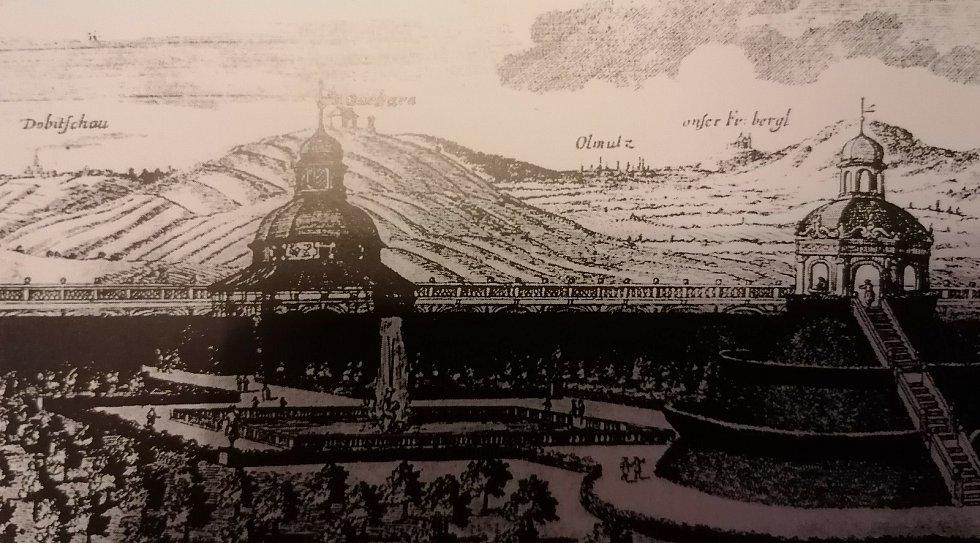 Kroměříž. Pohled na Květnou zahradu (Libosad) z roku 1691. V pozadí kopec Barbořina, popraviště nezakresleno.