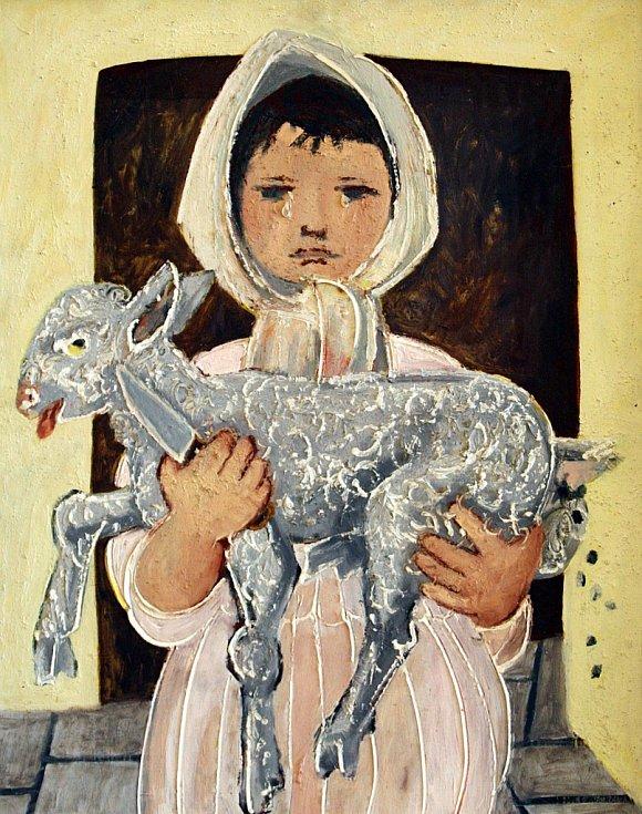 Výstava Čeští ilustrátoři pro děti a mládež na zámku v Holešově. Arnošt Paderlík Dítě s beránkem olej