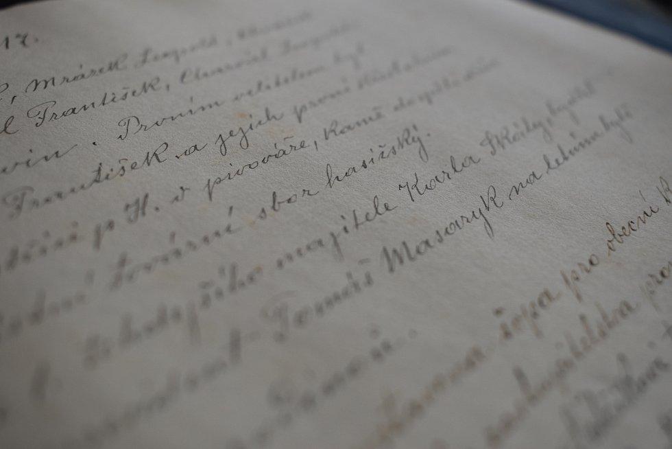 Zápis o návštěvě rodiny T. G. Masaryka v Chvalčově.