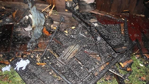 Požár zahradní chatky v Ratajích