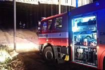Požár štěpky ve Chvalčově