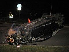 Dopravní nehoda mezi obcemi Martinice a Holešov.