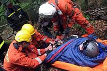 Hasiči, policisté, studenti policejní školy i horská služba spolupracovali v úterý při zachraňování paraglidistky, která fingovaně havarovala poblíž Tesáku a uvízla v koruně stromu.