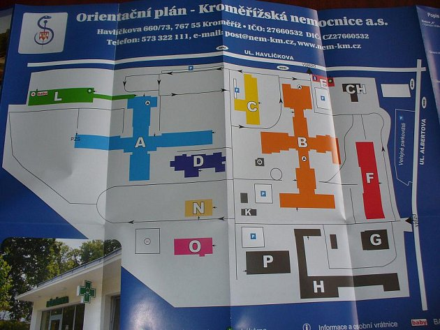 Orientační plán Kroměřížské nemocnice.