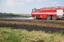Požár strniště v Jankovicích
