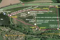 Plánek rozmístění nového vybavení okolo Šlajzy.