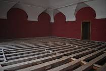 Opravy galerie a střechy Arcibiskupského zámku v Kroměříži - konec ledna 2021