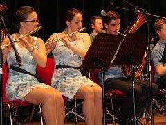 Krajské kolo celostátní soutěže ZUŠ ve hře dechových orchestrů v Domě kultury ve Zdounkách. Na snímku je Dechový orchestr Hulín.