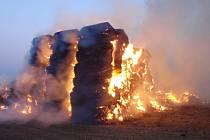 Požár stohu v Jarohněvicích