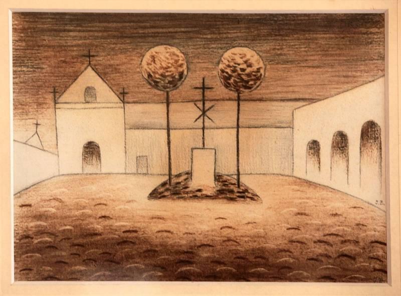 Výstava Mánes na zámku v Holešově. Na snímku Jan Zrzavý Normandie tempera na papíře 1930