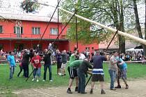 Pentlemi zdobená májka stojí od sobotního podvečera v Morkovicích na sokolské zahradě. Májku členové Tělocvičné jednoty Sokol postavili už po sedmnácté.