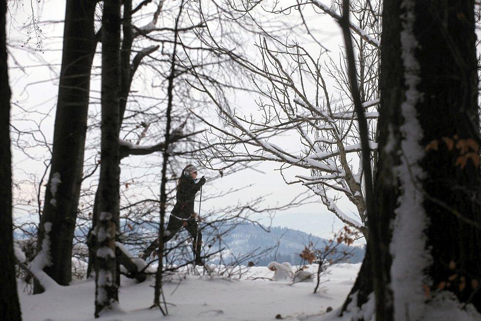 Běžkaři v Hostýnských vrších v okolí Tesáku a Trojáku.