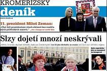 Detail titulní strany sobotního vydání Kroměřížského deníku.