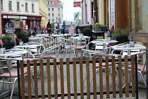 Zahrádky u restaurací v Kroměříži
