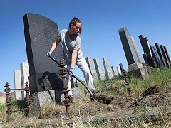 Dobrovolníci opravují židovský hřbitov v Holešově.