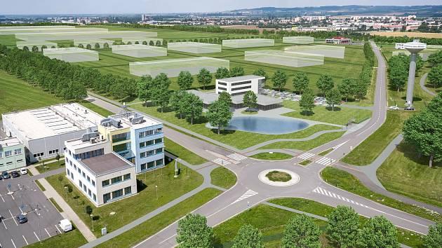 Vizualizace nového konceptu strategické průmyslové zóny v Holešově.