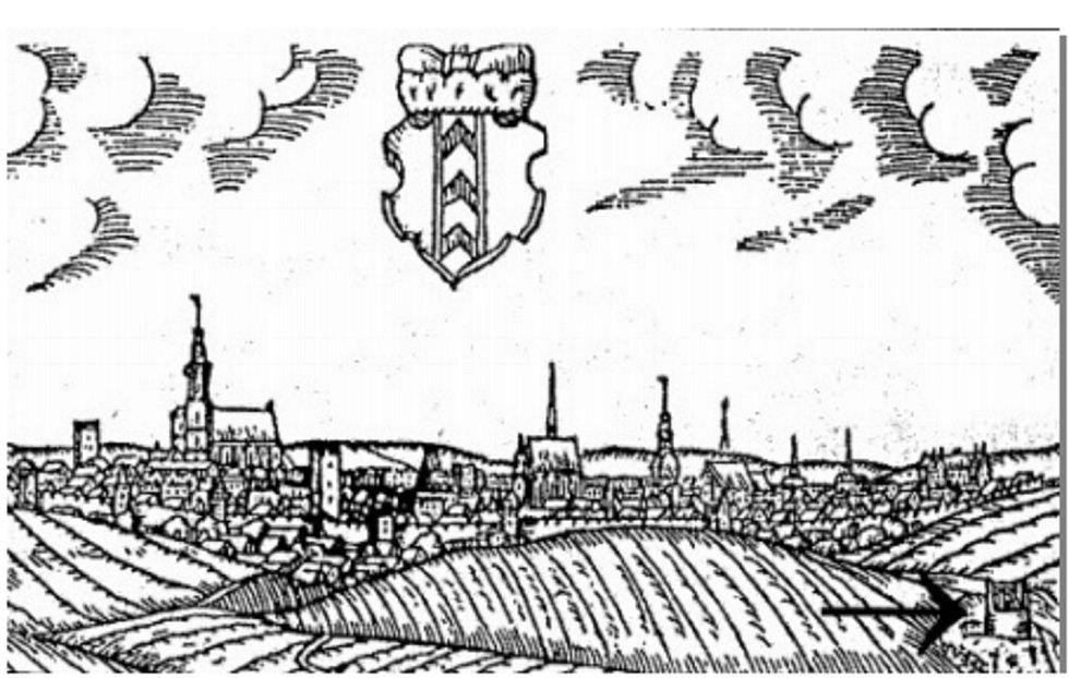 Pohled na Uherské Hradiště v roce 1602.