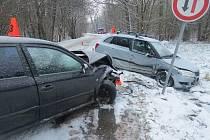 Žena dostala na sněhu smyk a střetla se s protijedoucím autem.