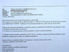 Tento podvodný e-mail je rozesílán tisícům lidí v České republice. Případy se nevyhnuly ani Kroměřížsku, podvodníci se snaží touto zprávou dostat osobním údajům lidí a kódům k bankovnímu účtu.