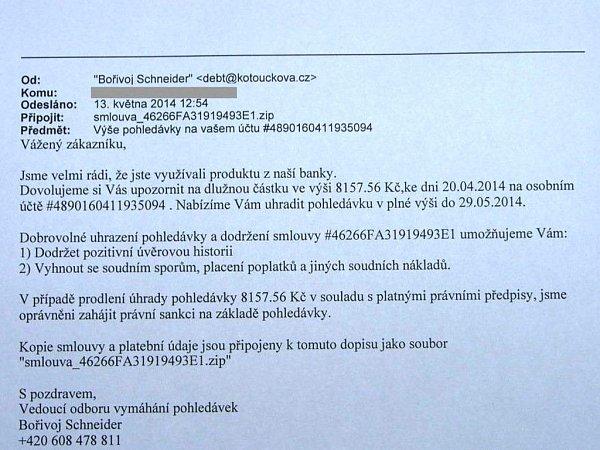 Tento podvodný e-mail je rozesílán tisícům lidí vČeské republice. Případy se nevyhnuly ani Kroměřížsku, podvodníci se snaží touto zprávou dostat osobním údajům lidí a kódům kbankovnímu účtu.
