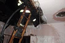 Požár podkroví rodinného domku v Koryčanech.