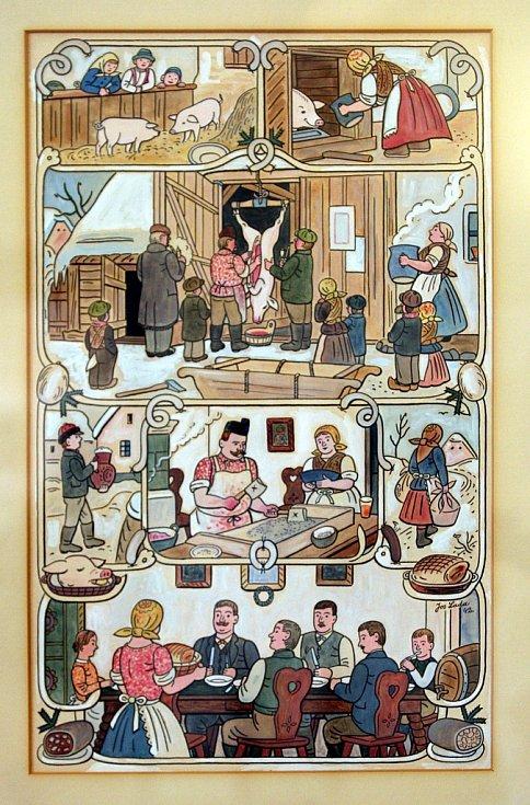 Výstava Čeští ilustrátoři pro děti a mládež na zámku v Holešově. Josef Lada