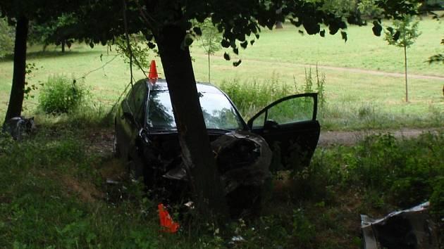 Auto se zastavilo o kmen stromu