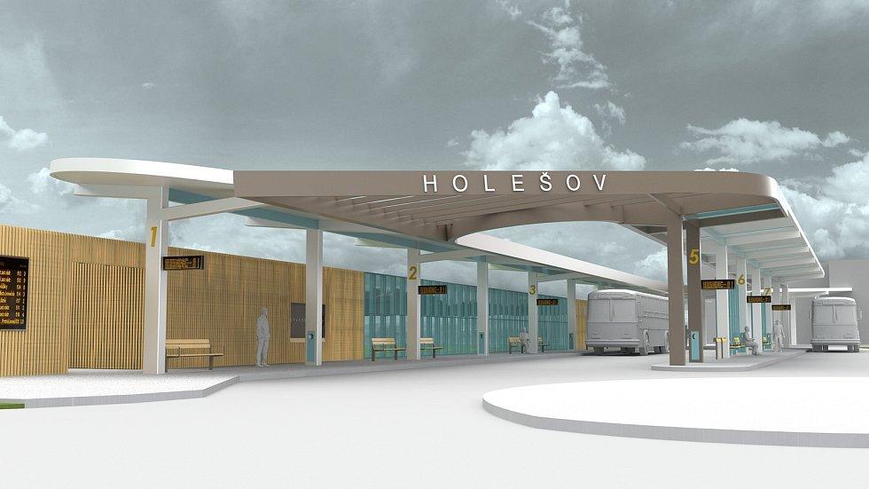 MODERNÍ TERMINÁL. Taková bude podoba nového autobusového nádraží v Holešově. Krásná moderní stavba by měla být hotová už na podzim.
