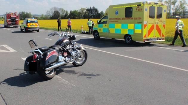 Havárie motorkáře u Pravčic