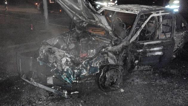 Dopravní nehoda v prostoru křižovatky ulice Hulínská, na výjezdu z Kroměříže směrem na Hulín.