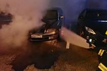 Požár automobilu, 10. 7. 2021 v Kroměříži.