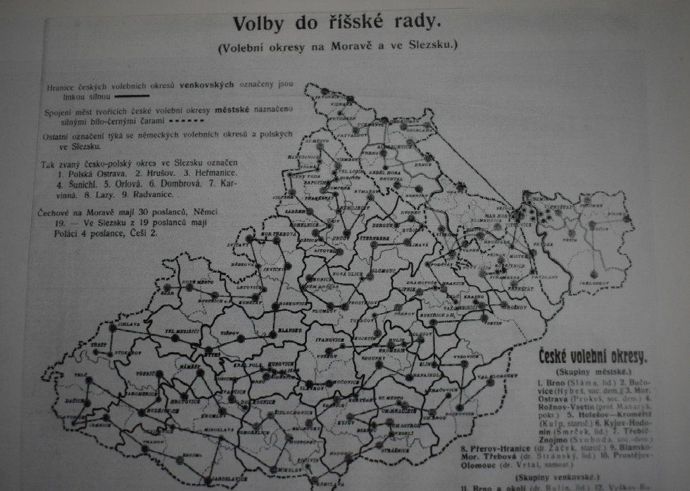 Volební obvody českých měst na Moravě a ve Slezsku do říšských voleb v roce 1911.