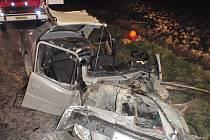 Pomoc hasičů po těžké dopravní nehodě u Pravčic