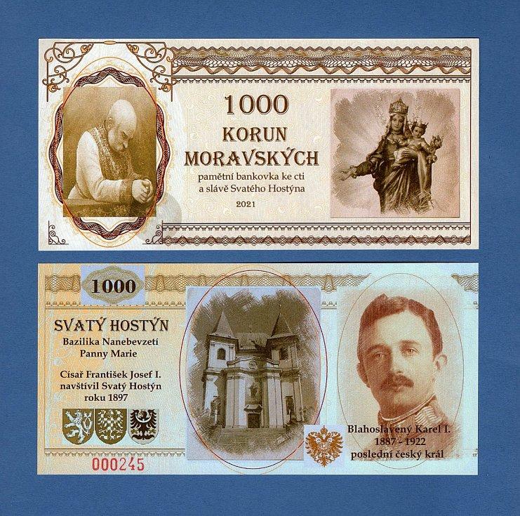 Bankovka s vyobrazením sv. Hostýna.
