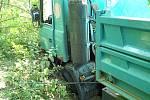 Nehoda náklaďáku na Rusavě