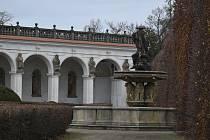 Květná zahrada v Kroměříži v  prosinci 2020