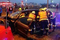 Kroměříž, nehoda na výjezdu na Hulín. 24.2.2021
