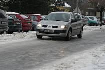 O druhém lednovém víkendu sníh a led pokryl také Holešov