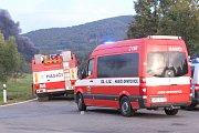 Požár v Čepro Loukov - manévry hasičů