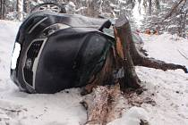 Auto se zastavilo o pařez stromu