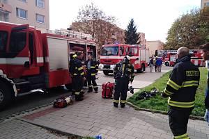 Požár na ulici Spáčilova v Kroměříži.