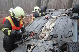 Nehoda dvou řidiček u Lubné na Kroměřížsku - 3. 2. 2021
