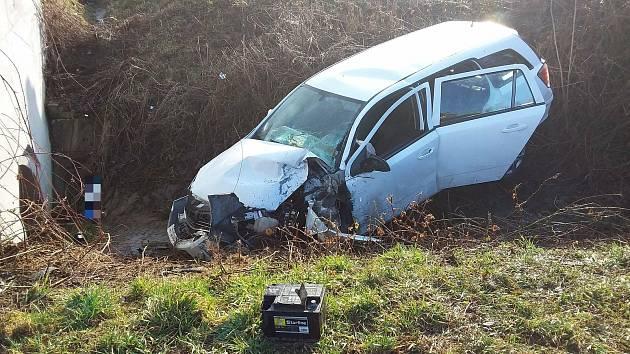 Nehoda u Honětic na Kroměřížsku  - středa 17. března 2021