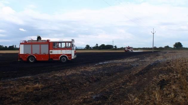 Požáry strnišť na Kroměřížsku.
