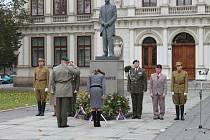 V Kroměříži položili věnce u sochy Tomáše Garrigua Masaryka při příležitosti vzniku samostatného československého státu.