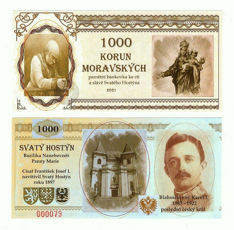 Bankovka s podobiznou sv. Hostýna.