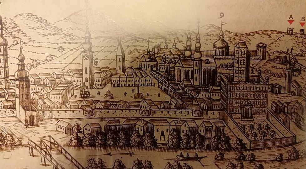 Pohled na město Kroměříž z 17. století i s popravištěm a šibenicí. Popravní místa: A narážecí kůly a vyplétací kolo, B šibenice s podezdívkou.