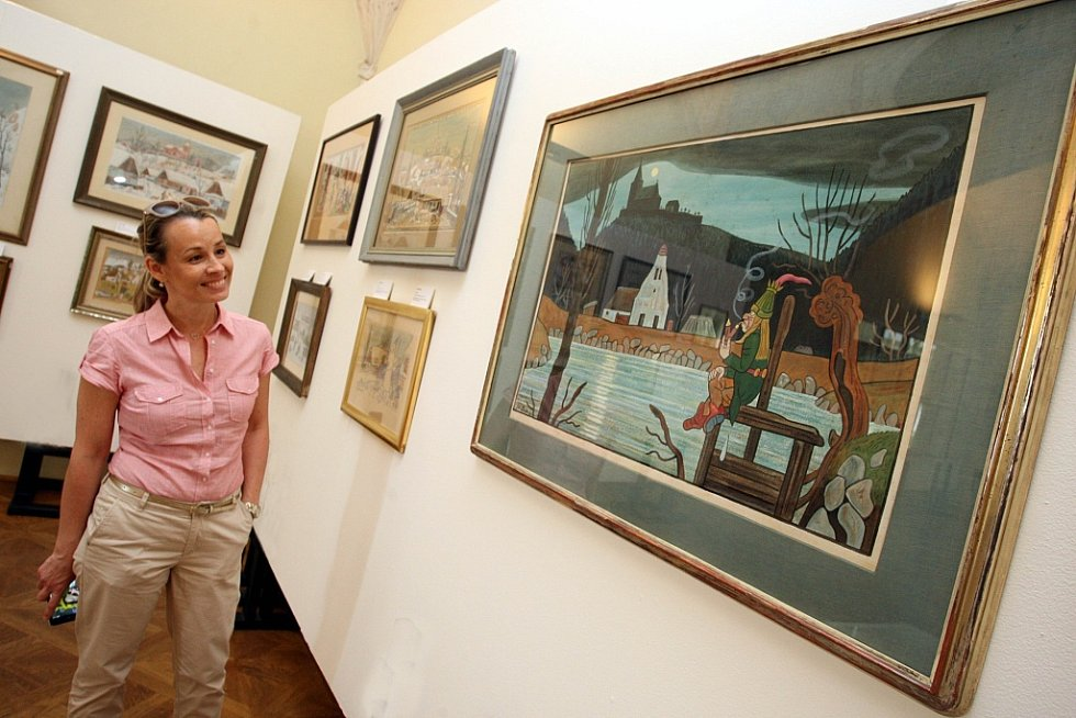 Výstava Čeští ilustrátoři pro děti a mládež na zámku v Holešově. Na snímku díla Josefa Lady