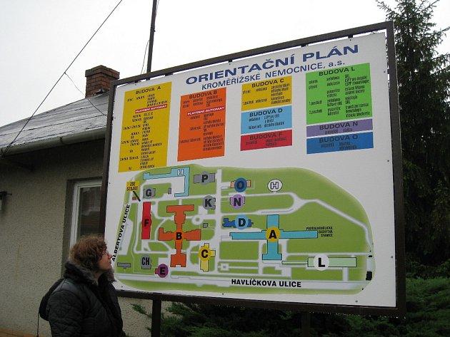 Kroměřížská nemocnice má už několik dní novou orientační mapu.